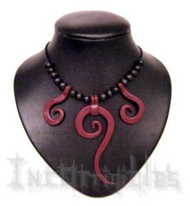 Collier Trio Spirale - pièces faits main (noir & bourgogne, autre couleur possible).2.logo
